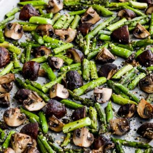 "Roasted Asparagus and Mushrooms with ""Everything"" Bagel Seasoning found on KalynsKitchen.com"