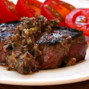 Top photo Pan-Grilled Steak with Olive Sauce