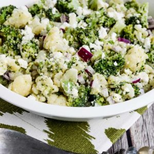 Close-up photo for Broccoli and Cauliflower Salad with Feta and Tarragon Vinaigrette