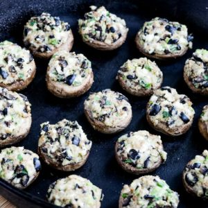 Low-Carb Stuffed Mushrooms with Olives and Feta found on KalynsKitchen.com