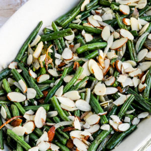 Garlic-Roasted Green Beans with Shallots and Almonds close-up photo