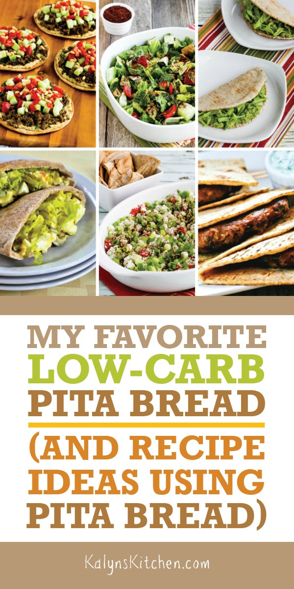 Pinterest image of My Favorite Low-Carb Pita Bread (and Recipe Ideas Using Pita Bread)