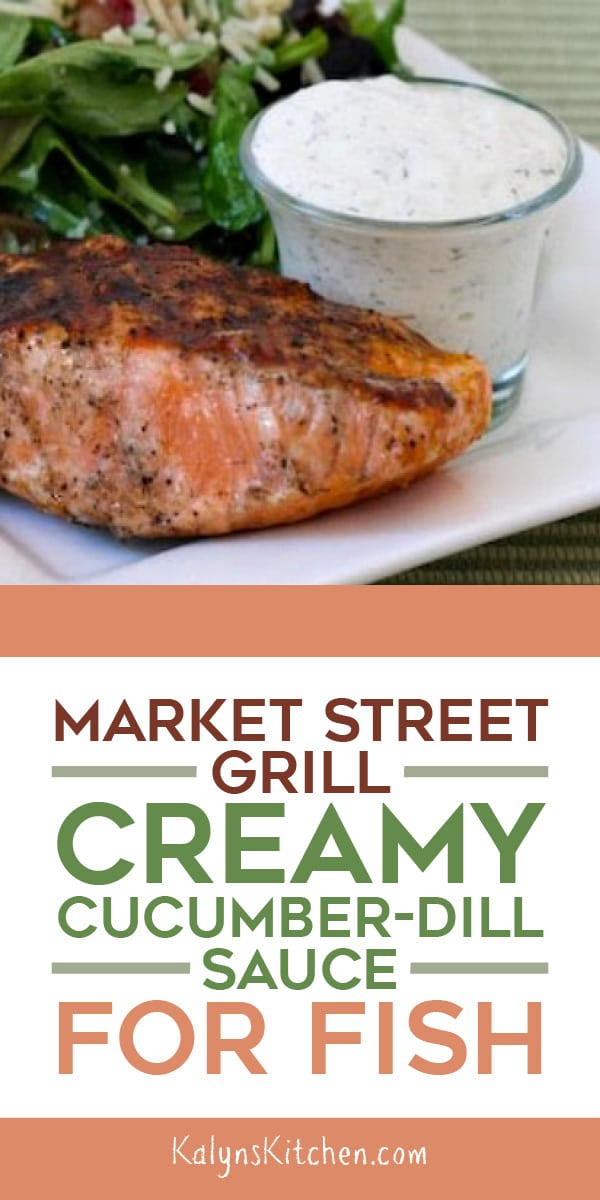 Pinterest image of Market Street Grill Creamy Cucumber-Dill Sauce for Fish