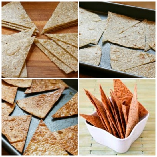 Process shots collage for Gluten-Free and Whole Grain Baked Brown Rice Tortilla Chips