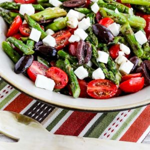 Asparagus Salad with Cherry Tomatoes, Kalamata Olives, and Feta found on KalynsKitchen.com