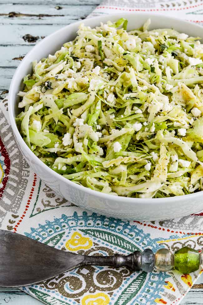 Close-up-photo for Low-Carb Greek Cabbage Salad.