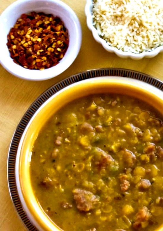 Spicy Yellow Split Pea Soup with Italian Sausage and Green Pepper found on KalynsKitchen.com