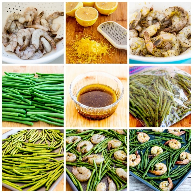 Spicy Green Beans and Shrimp Sheet Pan Meal process shots collage