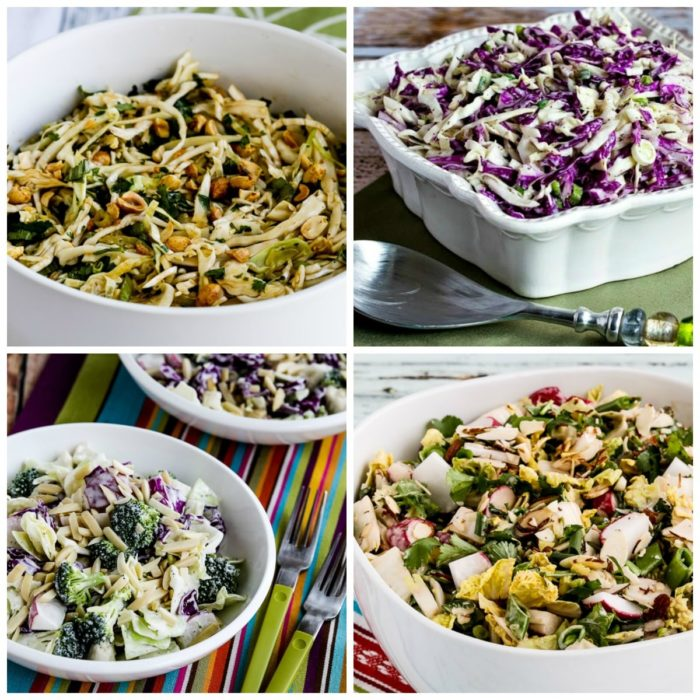 Five Favorite Low-Carb Cabbage Salads top photo collage