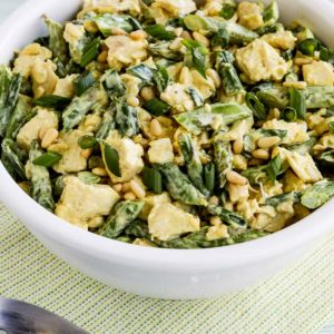 Low-Carb Curried Chicken Salad with Asparagus and Pine Nuts found on KalynsKitchen.com