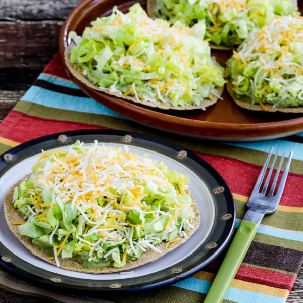 Easy Low-Carb Guacamole Tostadas found on KalynsKitchen.com