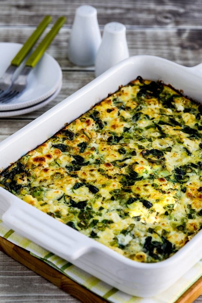 Breakfast Casserole with Spinach and Goat Cheese close-up photo