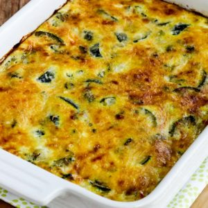 Close-up photo for Cheesy Low-Carb Zucchini and Basil Strata
