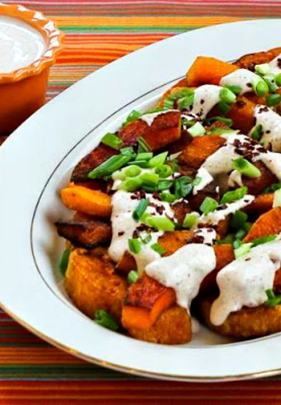 Roasted Butternut Squash Wedges with Tahini-Yogurt Sauce, Sumac, and Aleppo Pepper found on KalynsKitchen.com