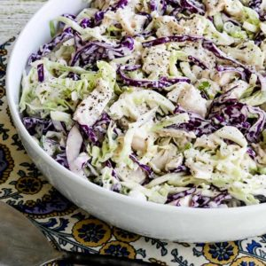 Low-Carb Chicken Cabbage Salad with Mustard and Celery Seed close-up photo