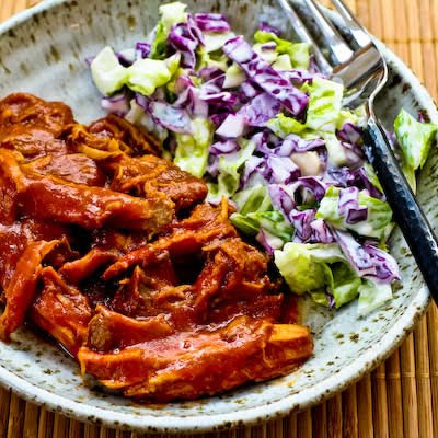 Slow Cooker Pulled Pork with Low-Sugar Barbecue Sauce [found on KalynsKitchen.com]