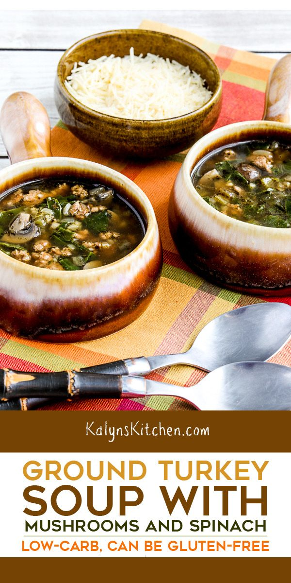 Ground Turkey Soup with Mushrooms and Spinach Pinterest image