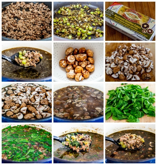 Ground Turkey Soup with Mushrooms and Spinach process shots collage