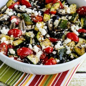 Close-up photo for Grilled Zucchini Greek Salad