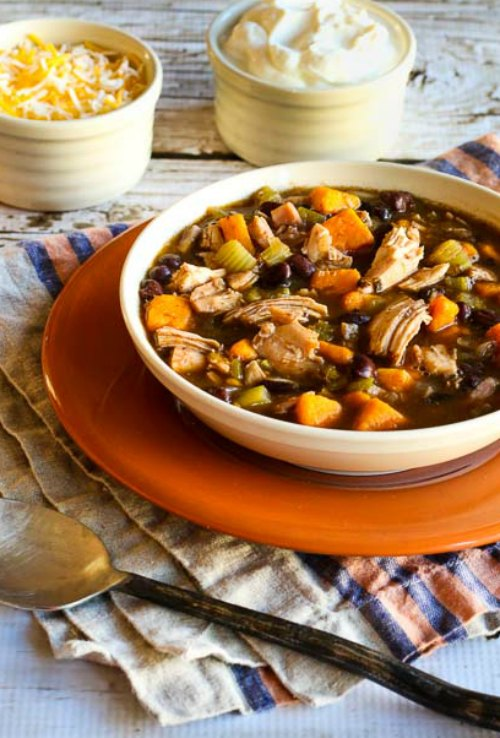 Leftover Turkey and Sweet Potato Soup with Black Beans [found on KalynsKitchen.com]