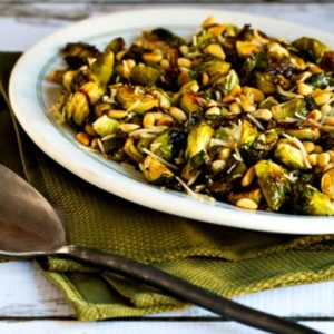 Roasted Brussels Sprouts with Balsamic, Parmesan, and Pine Nuts close-up photo