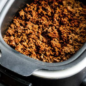 Slow Cooker Browns-in-the-Crockpot Spicy Ground Beef Taco Meat found on KalynsKitchen.com