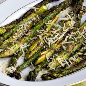 Finished Grilled Asparagus with Parmesan found on KalynsKitchen.com