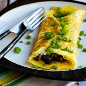 Close-up photo for for How to Make an Omelet and Low-Carb Omelet with Mushrooms and Goat Cheese