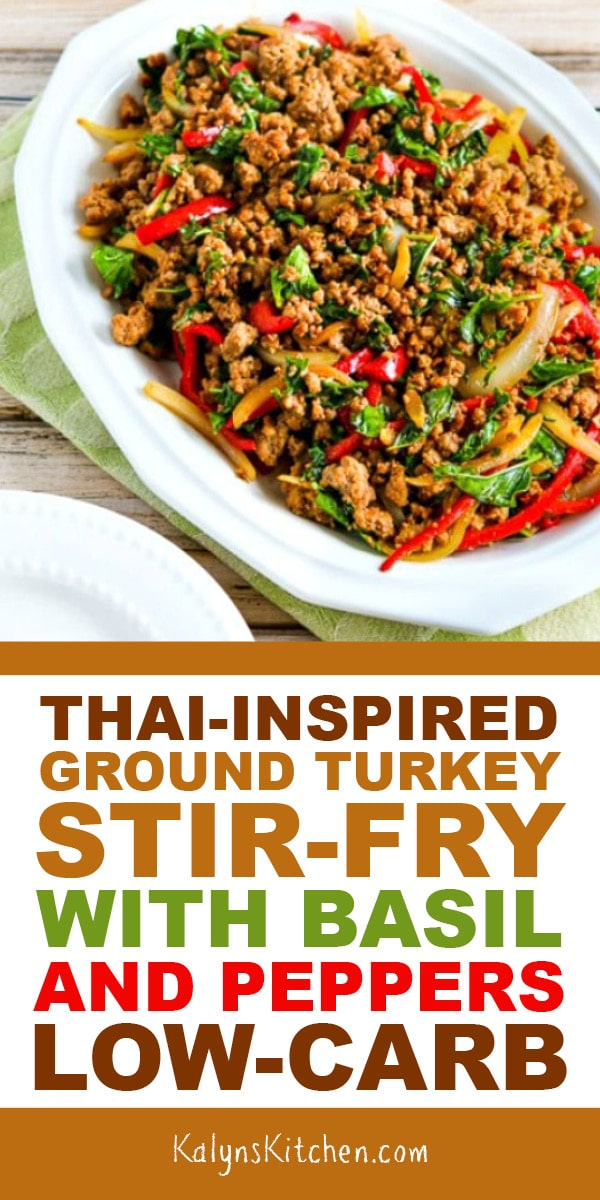 Pinterest image of THAI-INSPIRED GROUND TURKEY STIR-FRY WITH BASIL AND PEPPERS LOW-CARB