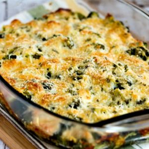 Low-Carb Broccoli Gratin with Swiss and Parmesan close-up photo