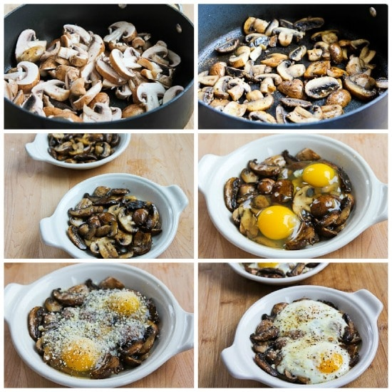 Baked Eggs with Mushrooms and Parmesan found on KalynsKitchen.com