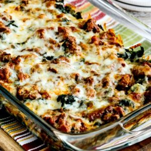 close-up photo for Low-Carb Sausage and Kale Mock Lasagna Casserole