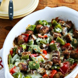 Low-Carb No Egg Breakfast Bake with Sausage and Peppers close-up photo