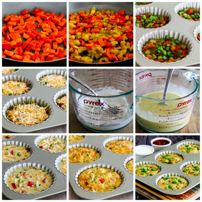 Southwestern Low-Carb Crustless Breakfast Tarts process shots collage