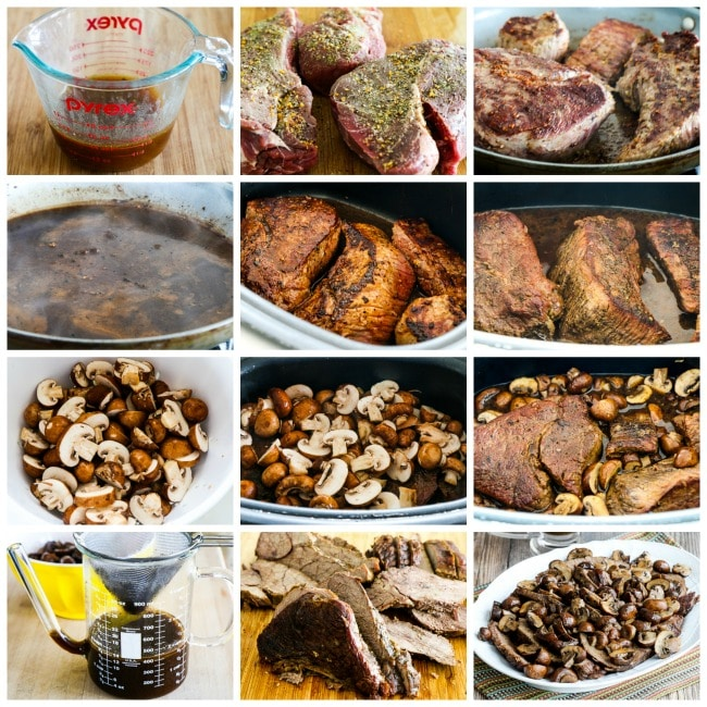 Low-Carb Slow Cooker Mushroom Lover's Pot Roast collage photos
