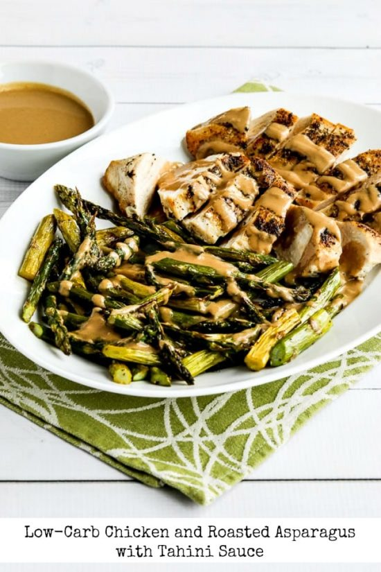 Low-Carb Chicken and Roasted Asparagus with Tahini Sauce