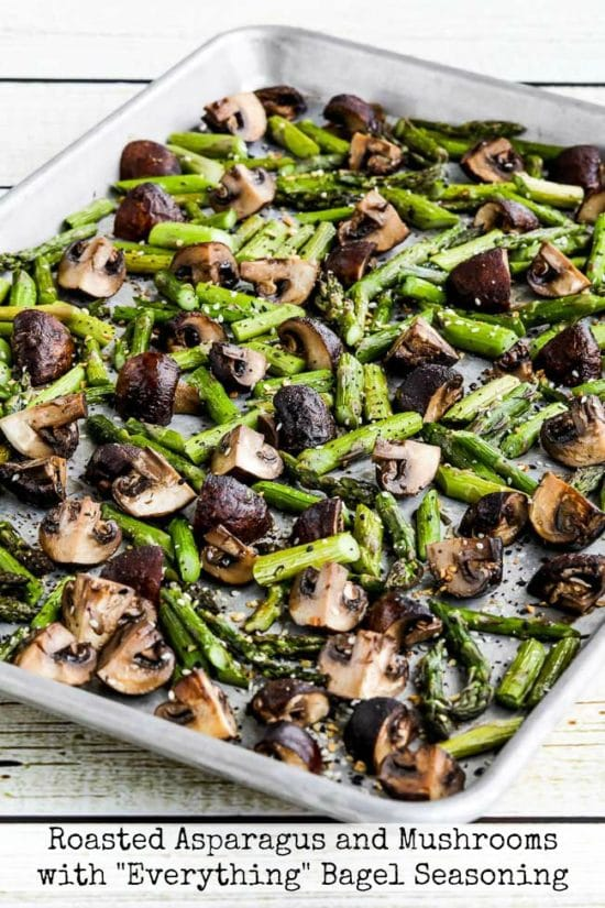 "Roasted Asparagus and Mushrooms with ""Everything"" Bagel Seasoning"