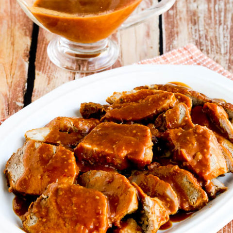 Low-Carb Slow Cooker (or Pressure Cooker) Pork Roast with Spicy Peanut Sauce