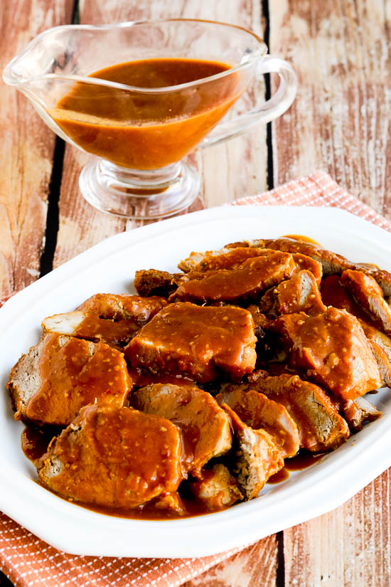 Low-Carb Slow Cooker (or Pressure Cooker) Pork Roast with Spicy Peanut Sauce close-up photo