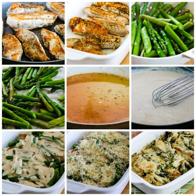 Chicken and Asparagus with Three Cheeses process shots collage