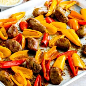 close-up photo for Low-Carb Roasted Italian Sausage and Sweet Mini Peppers Sheet Pan Meal