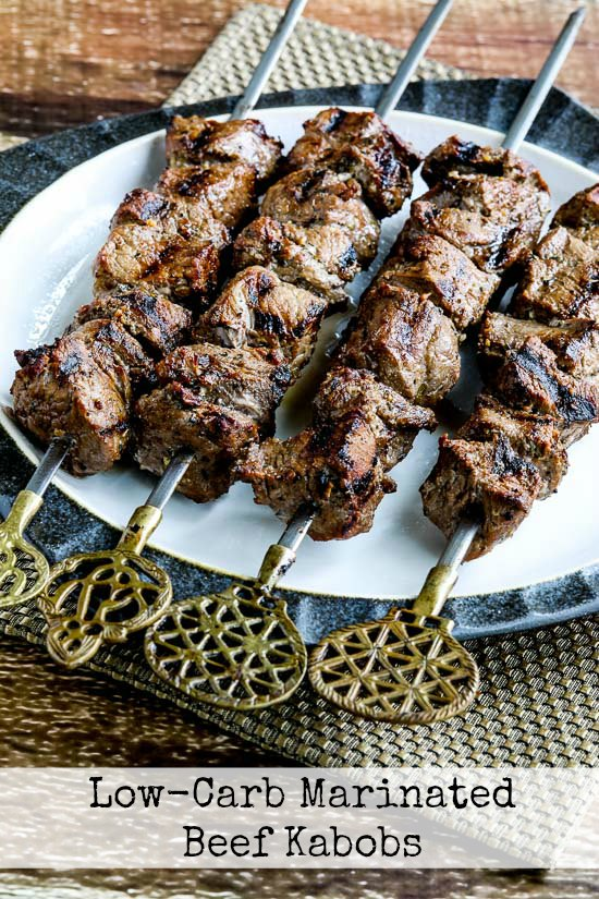 Low-Carb Marinated Beef Kabobs found on KalynsKitchen.com