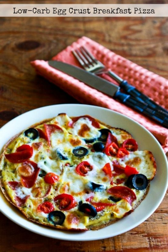 Low-Carb Egg Crust Breakfast Pizzafound on KalynsKitchen.com
