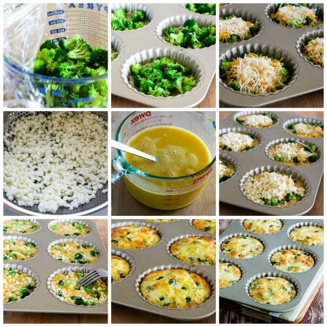 Low-Carb Baked Mini Frittatas with Broccoli and Three Cheeses process shots collage