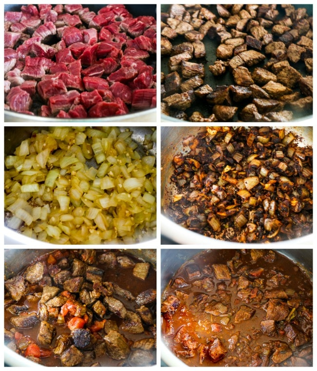 Collage de tomas instantáneas de proceso de ancho de carne baja en carbohidratos y ancho de chile Anaheim