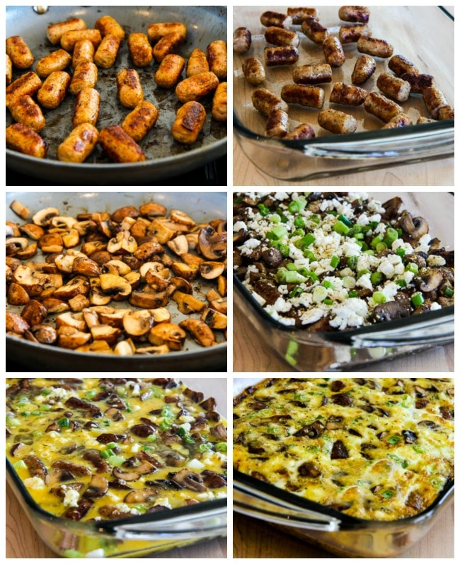 Sausage, Mushrooms, and Feta Baked with Eggs process shots collage