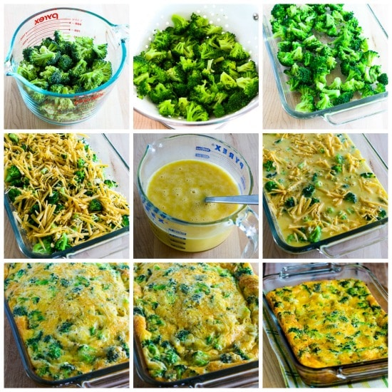 Low-Carb Broccoli Cheese Breakfast Casserole process shots collage