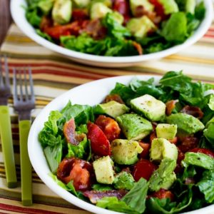 Close-Up Photo of Bacon, Lettuce, Tomato, and Avocado Salad