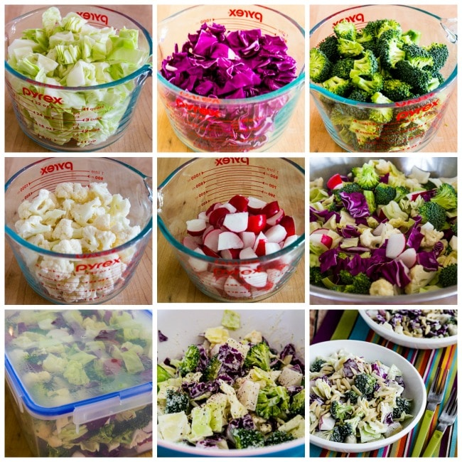 Crunchy Low-Carb Chopped Salad process shots collage