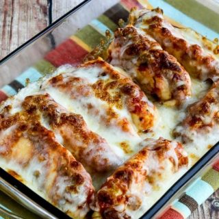Instant Pot Salsa Chicken with Lime and Melted Mozzarella found on KalynsKitchen.com